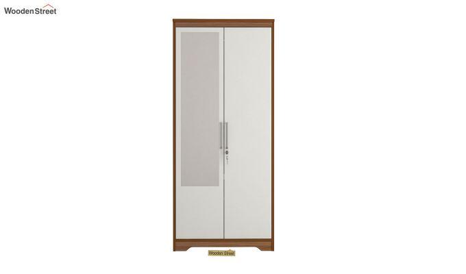 Denver 2 Door Wardrobe with Frosty White Door and Mirror (Exotic Teak Finish)-3
