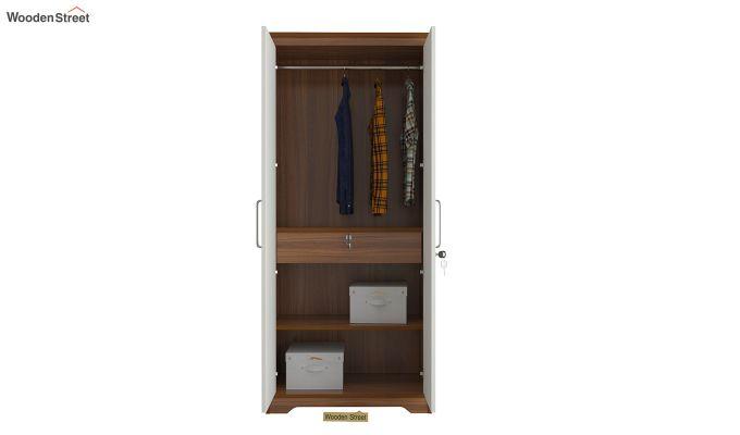 Denver 2 Door Wardrobe with Frosty White Door and Mirror (Exotic Teak Finish)-5