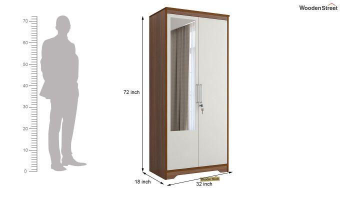 Denver 2 Door Wardrobe with Frosty White Door and Mirror (Exotic Teak Finish)-6