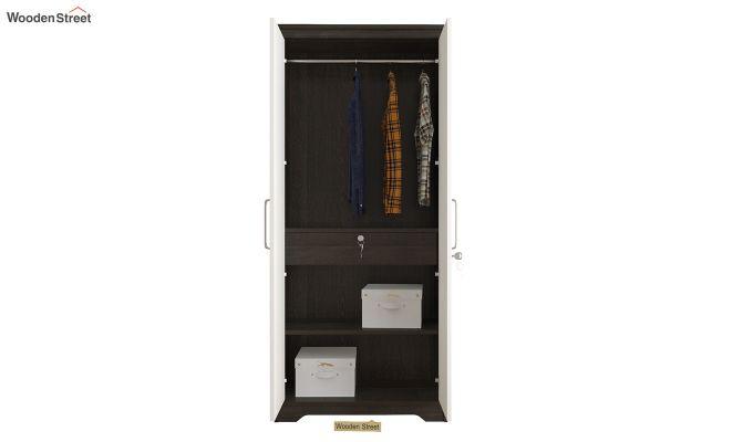 Denver 2 Door Wardrobe with Frosty White Door and Mirror (Flowery Wenge Finish)-4
