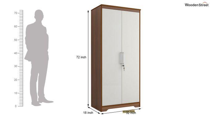 Denver 2 Door Wardrobe with Frosty White Door (Exotic Teak Finish)-6
