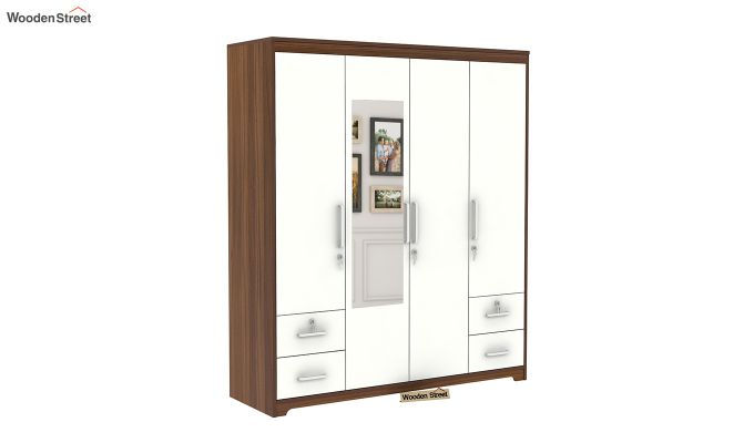 Pearl 4 Door Wardrobe with Mirror and Frosty White Drawer (Exotic Teak Finish)-3