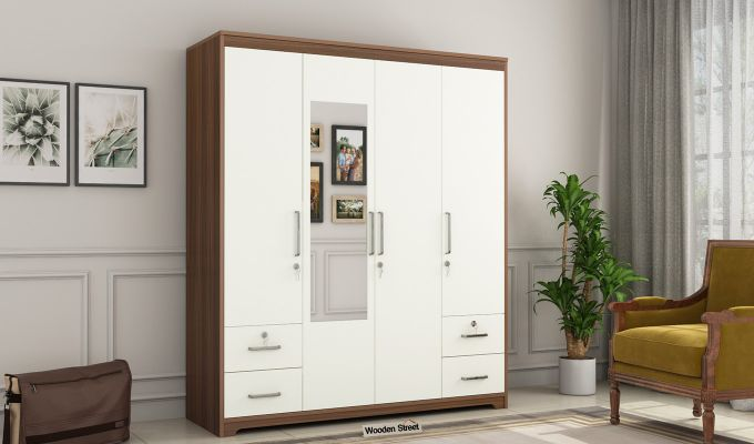 Pearl 4 Door Wardrobe with Mirror and Frosty White Drawer (Exotic Teak Finish)-2