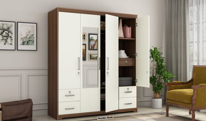 Pearl 4 Door Wardrobe with Mirror and Frosty White Drawer (Exotic Teak Finish)-1