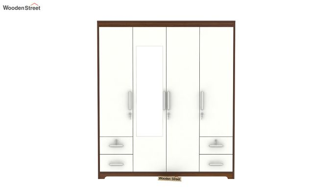 Pearl 4 Door Wardrobe with Mirror and Frosty White Drawer (Exotic Teak Finish)-4