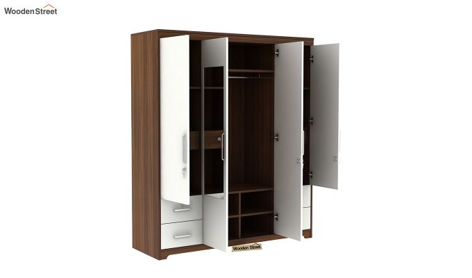 Pearl 4 Door Wardrobe with Mirror and Frosty White Drawer (Exotic Teak Finish)-5