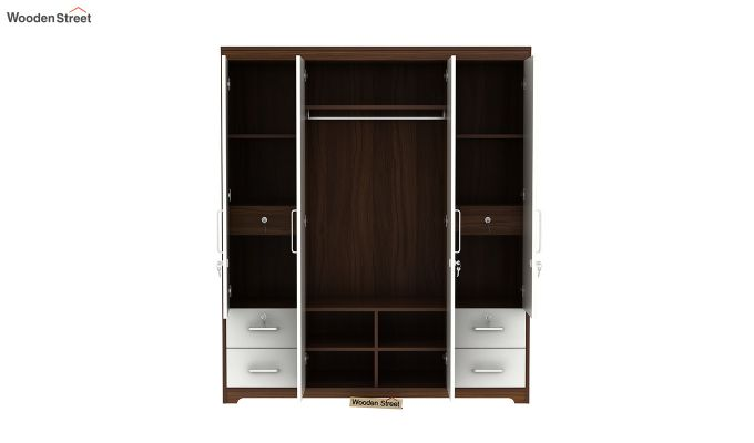 Pearl 4 Door Wardrobe with Mirror and Frosty White Drawer (Exotic Teak Finish)-6
