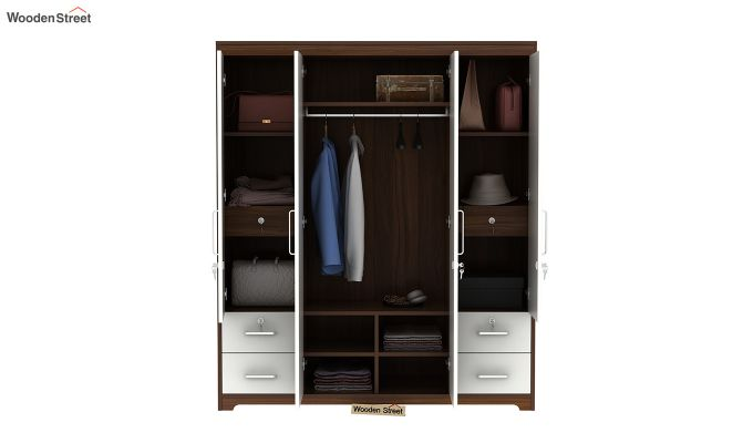 Pearl 4 Door Wardrobe with Mirror and Frosty White Drawer (Exotic Teak Finish)-7