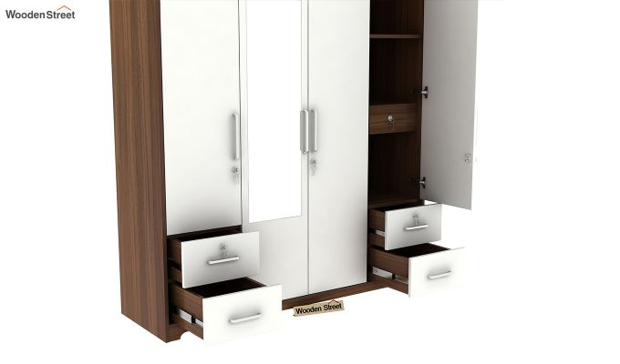 Pearl 4 Door Wardrobe with Mirror and Frosty White Drawer (Exotic Teak Finish)-8