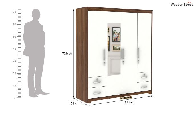 Pearl 4 Door Wardrobe with Mirror and Frosty White Drawer (Exotic Teak Finish)-9