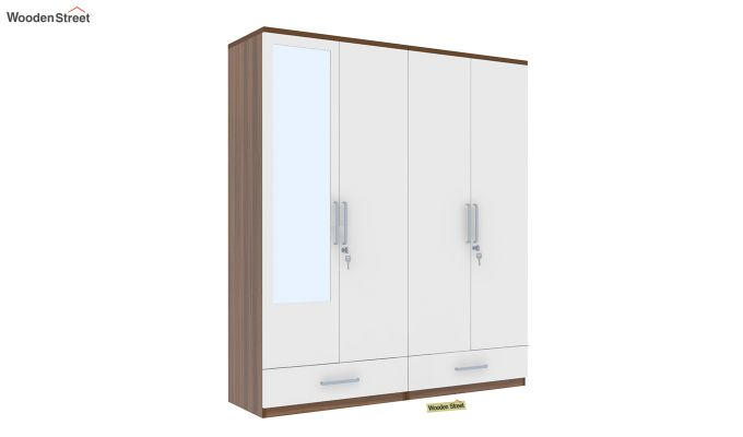 Valor 4 Door Wardrobe with Mirror and Frosty White Drawer (Exotic Teak Finish)-2