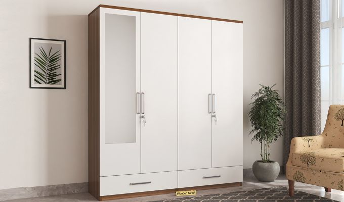Valor 4 Door Wardrobe with Mirror and Frosty White Drawer (Exotic Teak Finish)-1