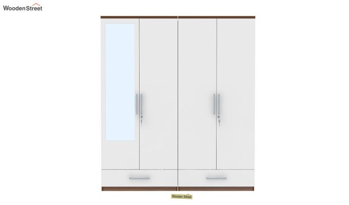 Valor 4 Door Wardrobe with Mirror and Frosty White Drawer (Exotic Teak Finish)-3