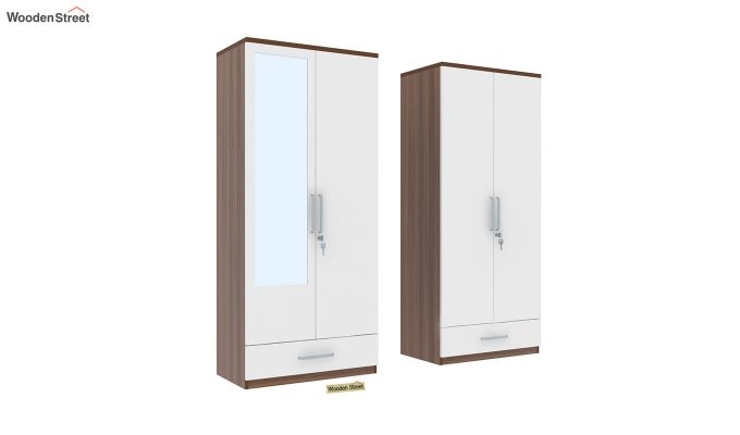 Valor 4 Door Wardrobe with Mirror and Frosty White Drawer (Exotic Teak Finish)-4