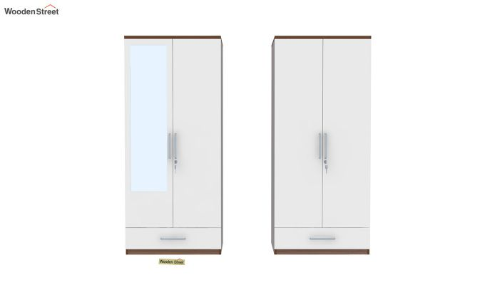 Valor 4 Door Wardrobe with Mirror and Frosty White Drawer (Exotic Teak Finish)-5