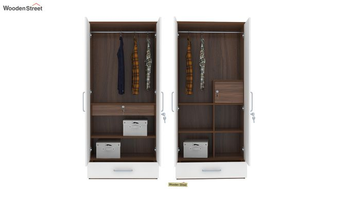 Valor 4 Door Wardrobe with Mirror and Frosty White Drawer (Exotic Teak Finish)-6