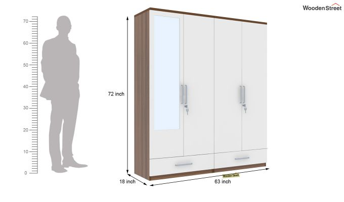 Valor 4 Door Wardrobe with Mirror and Frosty White Drawer (Exotic Teak Finish)-7