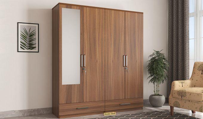 Valor 4 Door Wardrobe with Mirror (Exotic Teak Finish)-1