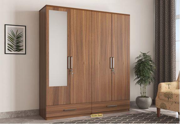 4 Door wooden Wardrobe online low price with Mirror
