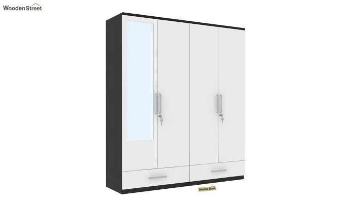 Valor 4 Door Wardrobe with Mirror and Frosty White Drawer (Flowery Wenge Finish)-2