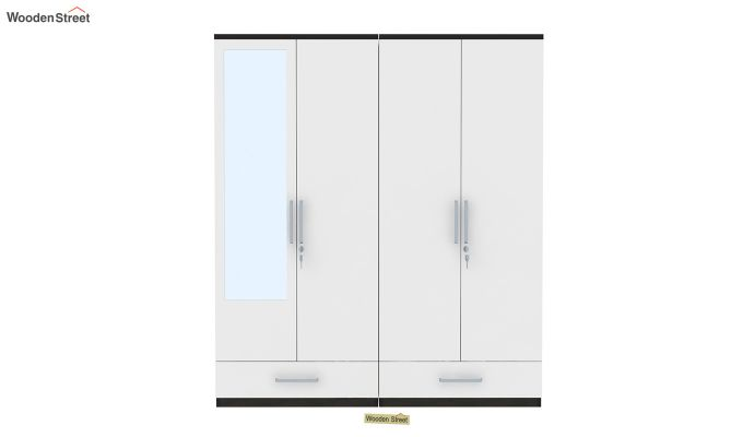 Valor 4 Door Wardrobe with Mirror and Frosty White Drawer (Flowery Wenge Finish)-3