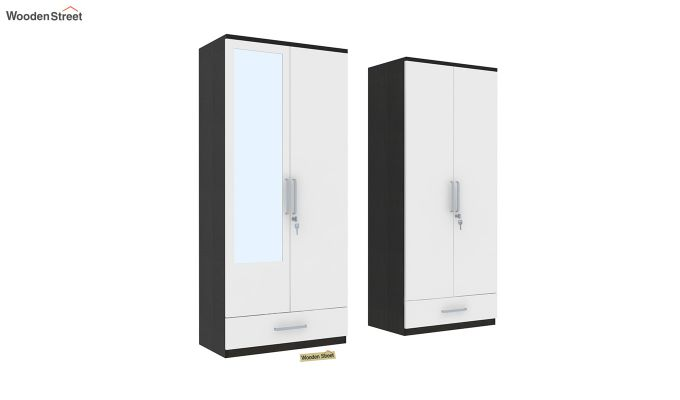 Valor 4 Door Wardrobe with Mirror and Frosty White Drawer (Flowery Wenge Finish)-4