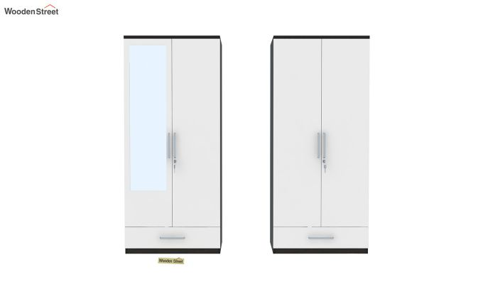 Valor 4 Door Wardrobe with Mirror and Frosty White Drawer (Flowery Wenge Finish)-5