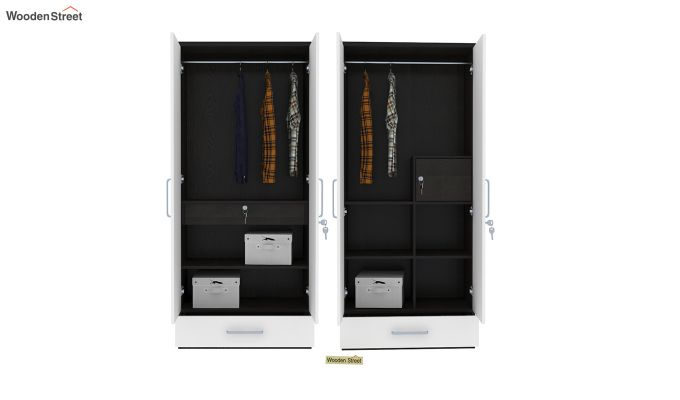 Valor 4 Door Wardrobe with Mirror and Frosty White Drawer (Flowery Wenge Finish)-6