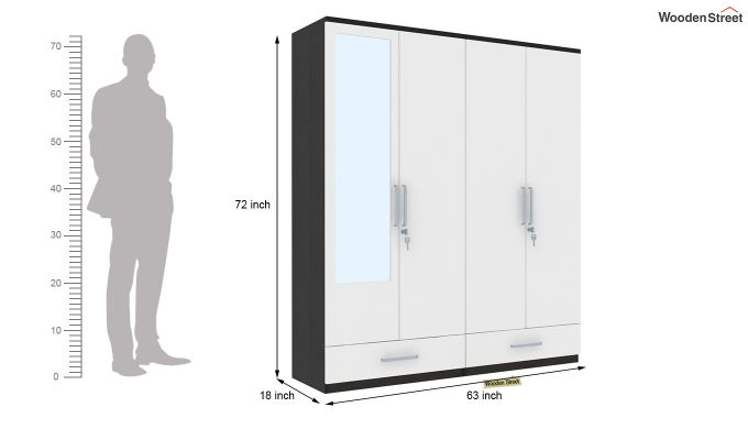 Valor 4 Door Wardrobe with Mirror and Frosty White Drawer (Flowery Wenge Finish)-7