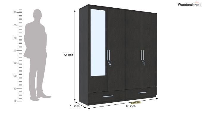 Valor 4 Door Wardrobe with Mirror (Flowery Wenge Finish)-7