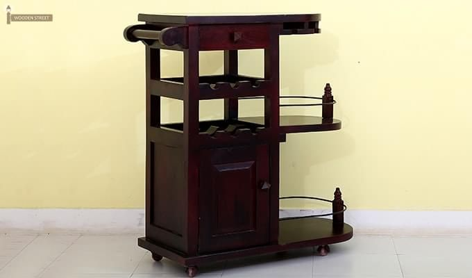 Slany Bar Trolley (Mahogany Finish)-2