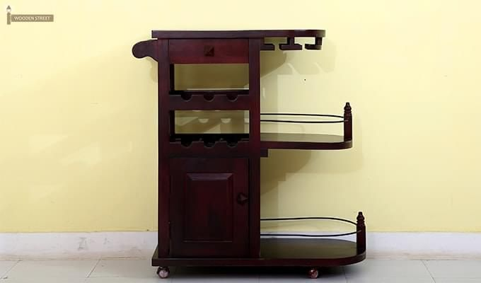 Slany Bar Trolley (Mahogany Finish)-3