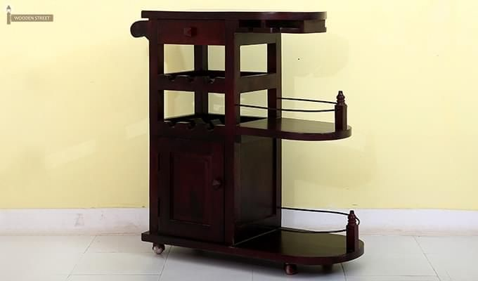 Slany Bar Trolley (Mahogany Finish)-4