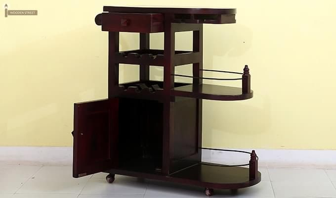 Slany Bar Trolley (Mahogany Finish)-5