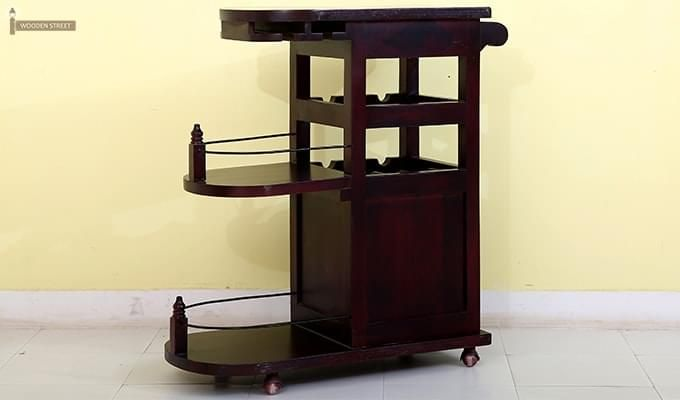 Slany Bar Trolley (Mahogany Finish)-6