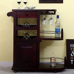Slany Bar Trolley (Mahogany Finish)