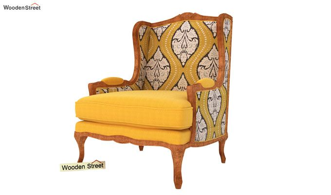 Adire Wingback Chair (Mustard Coral)-2