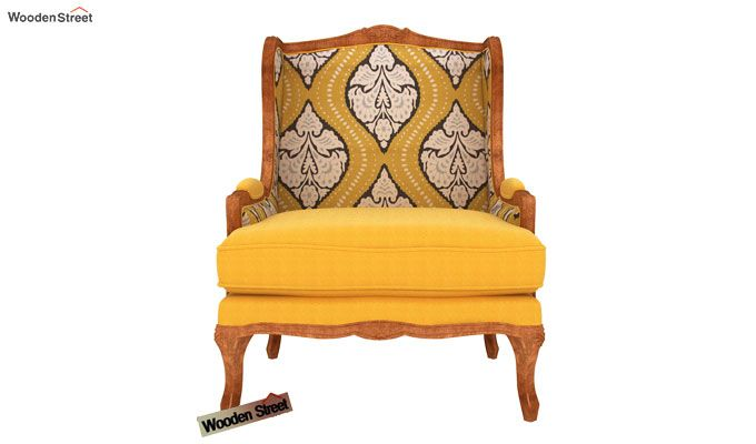 Adire Wingback Chair (Mustard Coral)-3