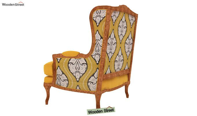 Adire Wingback Chair (Mustard Coral)-4