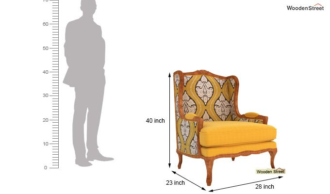 Adire Wingback Chair (Mustard Coral)-5