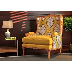 Adire Wingback Chair (Mustard Coral)