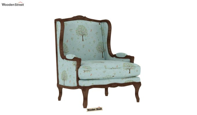 Adire Wingback Chair (Linen, Teal Pomme)-2