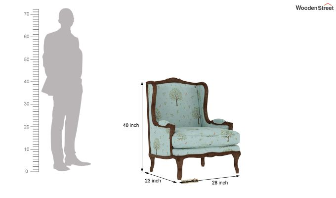 Adire Wingback Chair (Linen, Teal Pomme)-4