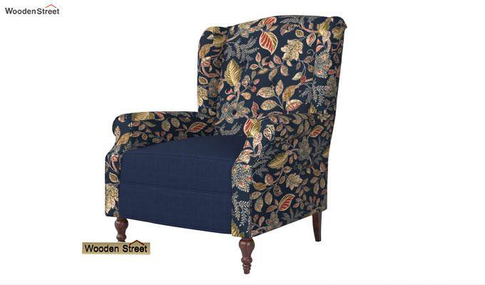 Botox Wingback Chair (Indigo Ink, Dusky Leaf)-3