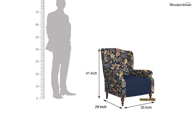 Botox Wingback Chair (Indigo Ink, Dusky Leaf)-4