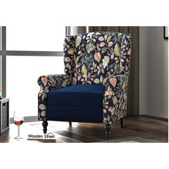 Botox Lounge Chair (Indigo Ink, Dusky Leaf)