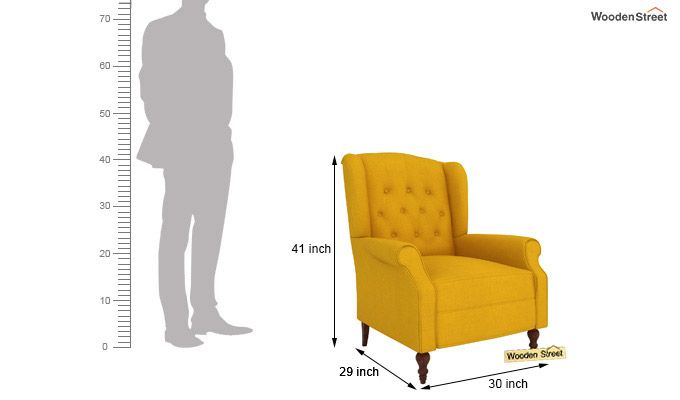 Botox Wingback Chair (Yellow Blush)-4