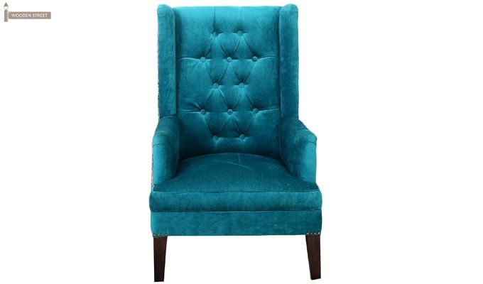 Edwina Wingback Chair (Tuffted, Electric Turquoise)-2
