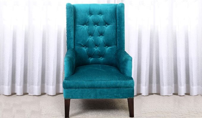 Edwina Wingback Chair (Tuffted, Electric Turquoise)-1
