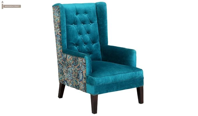 Edwina Wingback Chair (Tuffted, Electric Turquoise)-3